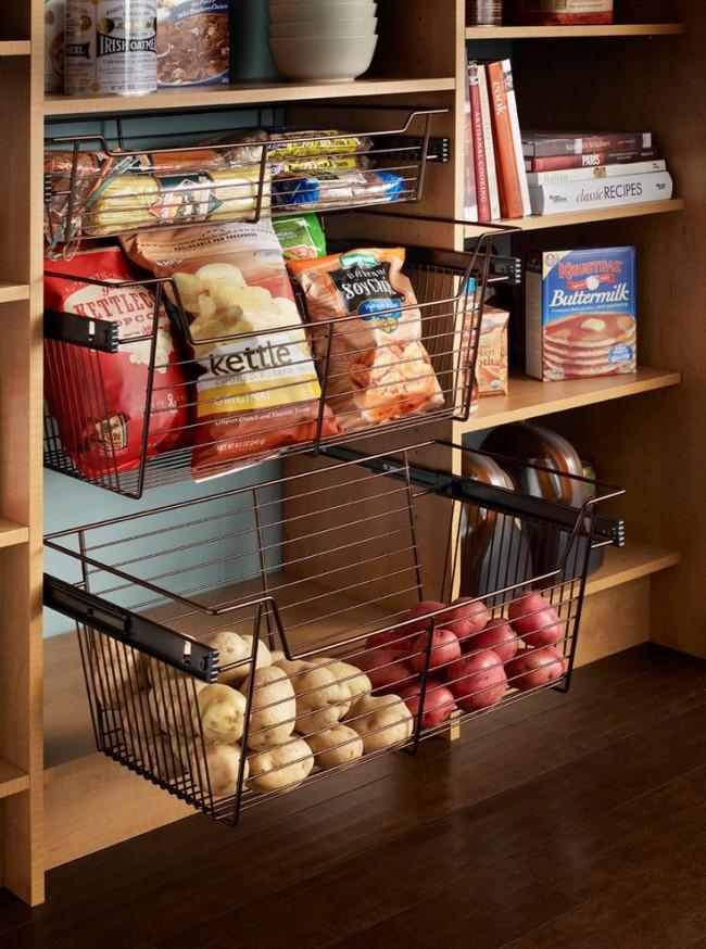 Paniers coulissants spéciaux pour le stockage des aliments