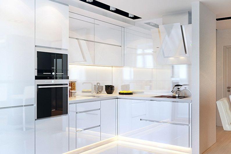 Cuisine blanche dans le style du minimalisme - Design d'intérieur