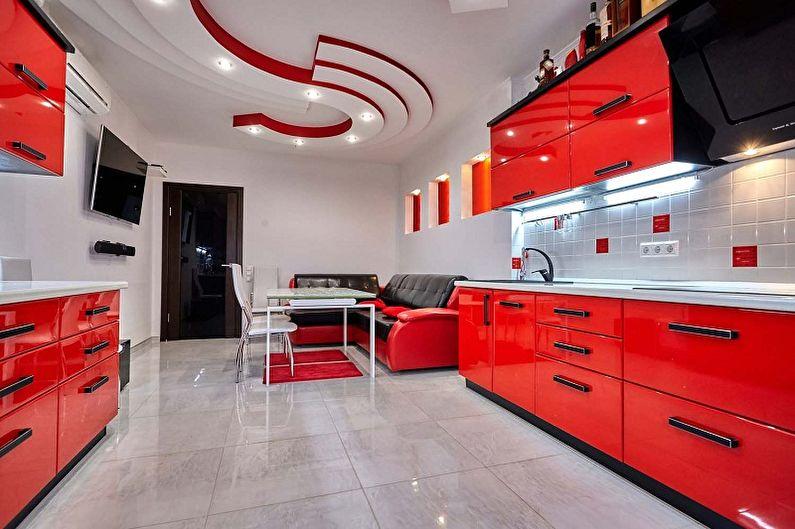 Cuisine rouge dans le style du minimalisme - Design d'intérieur