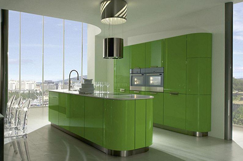 Cuisine verte dans le style du minimalisme - Design d'intérieur