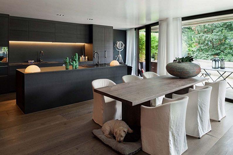Cuisine noire dans le style du minimalisme - Design d'intérieur