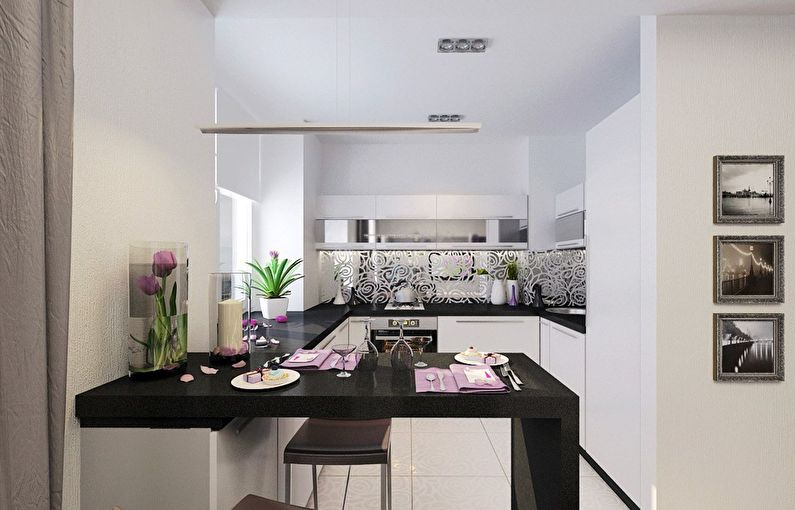 Cuisine blanche moderne - design d'intérieur