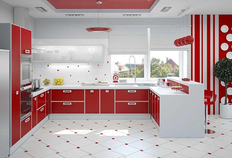 Cuisine rouge moderne - design d'intérieur