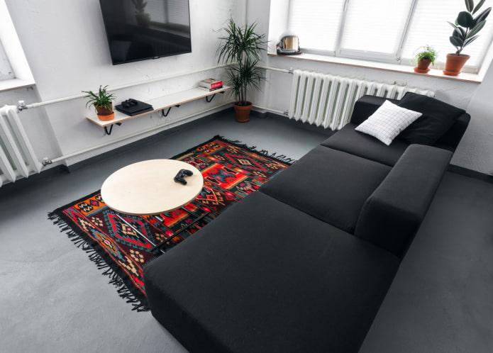 intérieur de salon de style loft blanc et gris