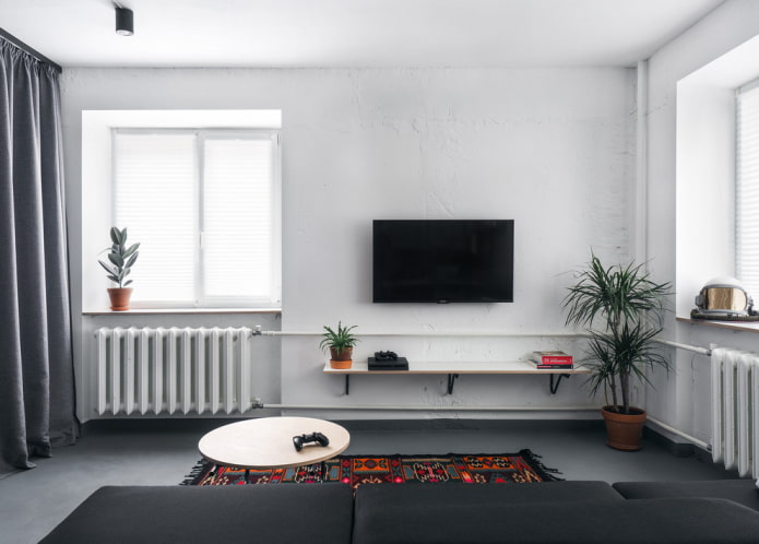 intérieur de salon de style loft blanc