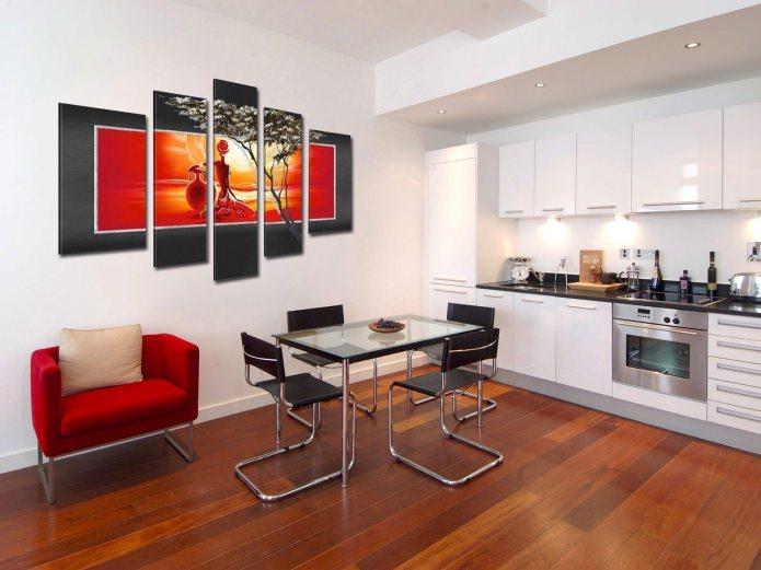 tableau modulaire moderne à l'intérieur de la cuisine