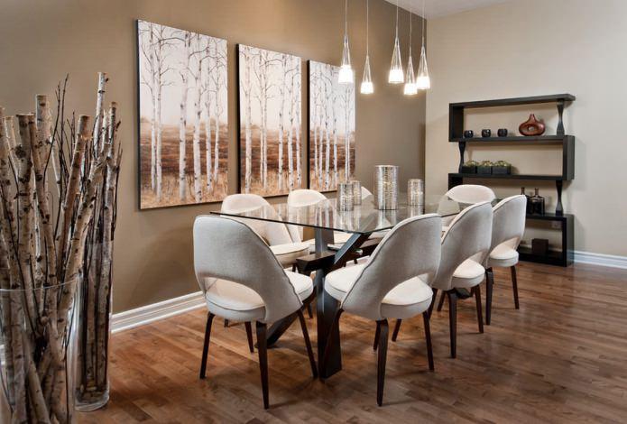 Peinture modulaire à l'intérieur de la salle à manger
