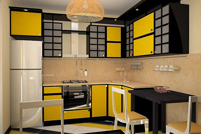 Conception de petite cuisine d'angle
