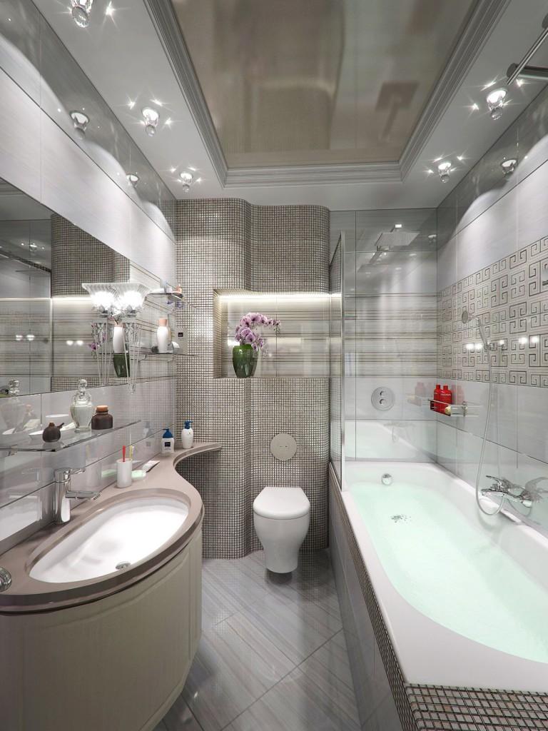 Tissu extensible brillant dans un cadre en placoplâtre - une option pour un plafond à deux niveaux pour votre salle de bain