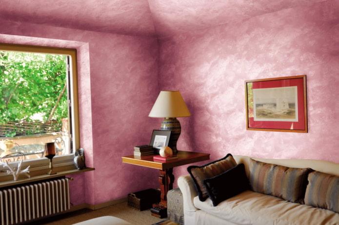 murs et plafond roses