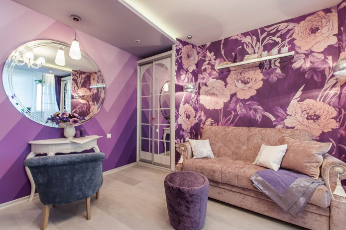 papier peint violet avec de grandes fleurs et