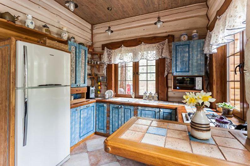 Cuisine de style campagnard bleu - Design d'intérieur