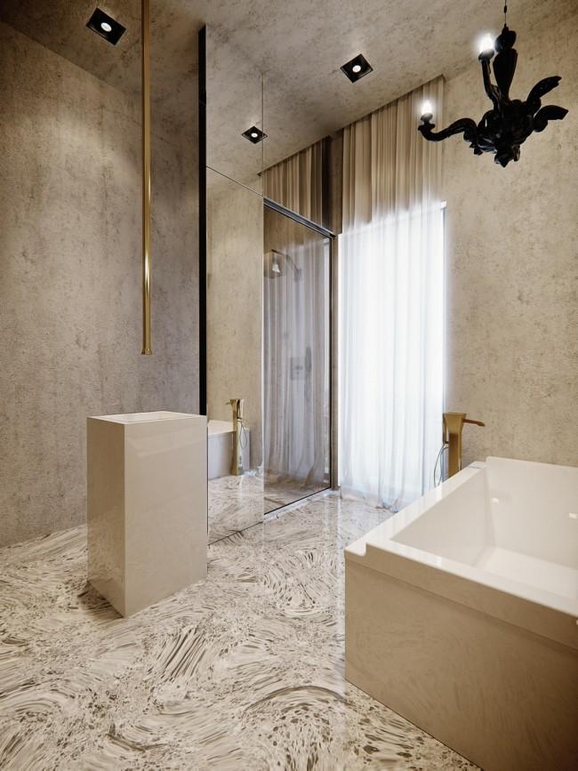 Au lieu des enduits standards, jetez un œil à l'exotisme : sol autonivelant (si la disposition des sols le permet), panneaux de béton spectaculaires sur les murs et enduit décoratif