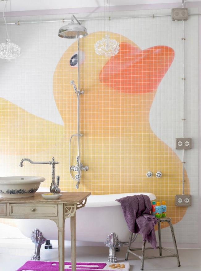 Panneau de mosaïque lumineux combiné avec des accessoires shabby chic