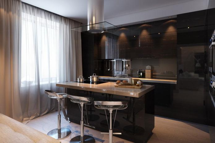 rideaux à l'intérieur de la cuisine en noir