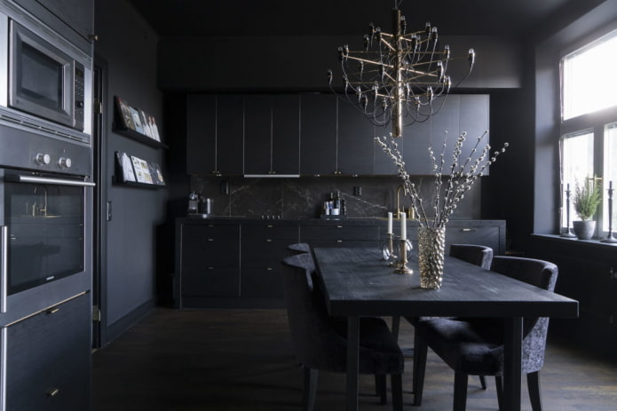 éclairage à l'intérieur de la cuisine dans des tons noirs