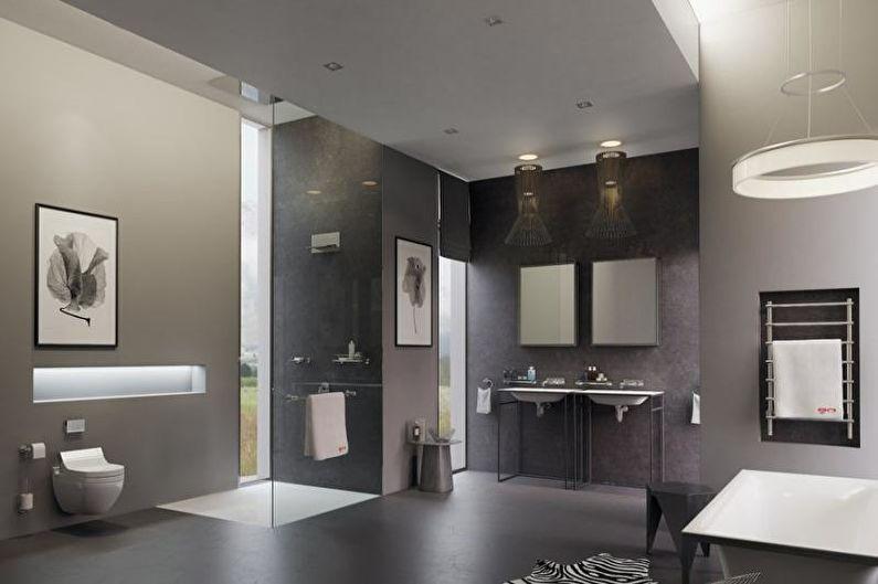 Salle de bain combinée high-tech - Design d'intérieur