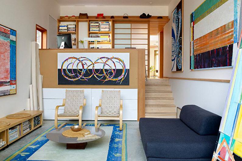 Zonage de la chambre-salon - Podiums et deuxième niveaux