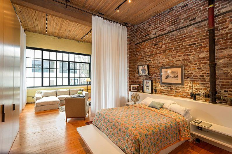 Chambre-salon de style loft - Design d'intérieur