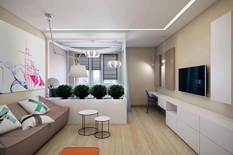 Chambre-salon dans le style du minimalisme - Design d'intérieur