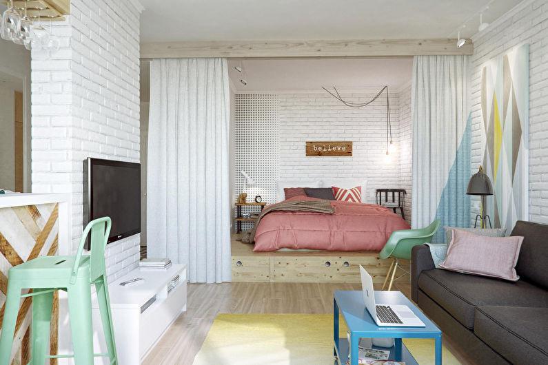 Chambre-salon de style scandinave - Design d'intérieur
