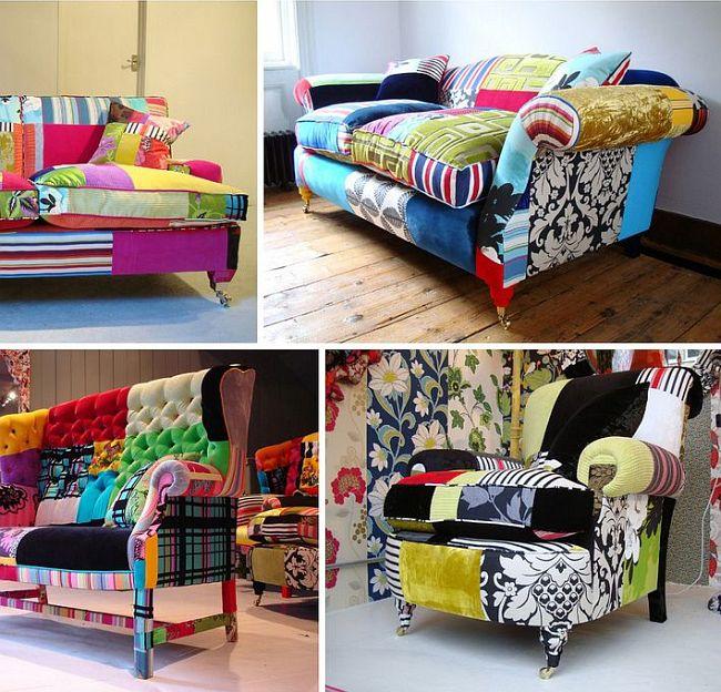 La technique du patchwork trouve une grande utilité dans la décoration intérieure scandaleuse et kitsch.
