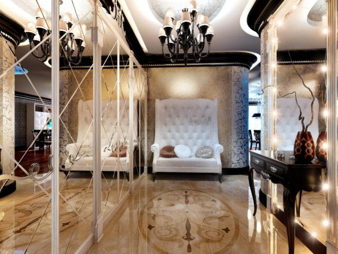 Canapé à dossier haut et armoires à miroir