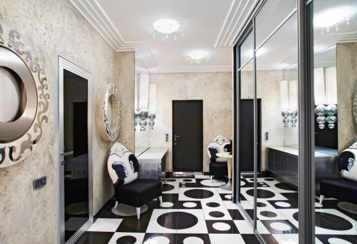 Couloir noir et blanc de style art déco