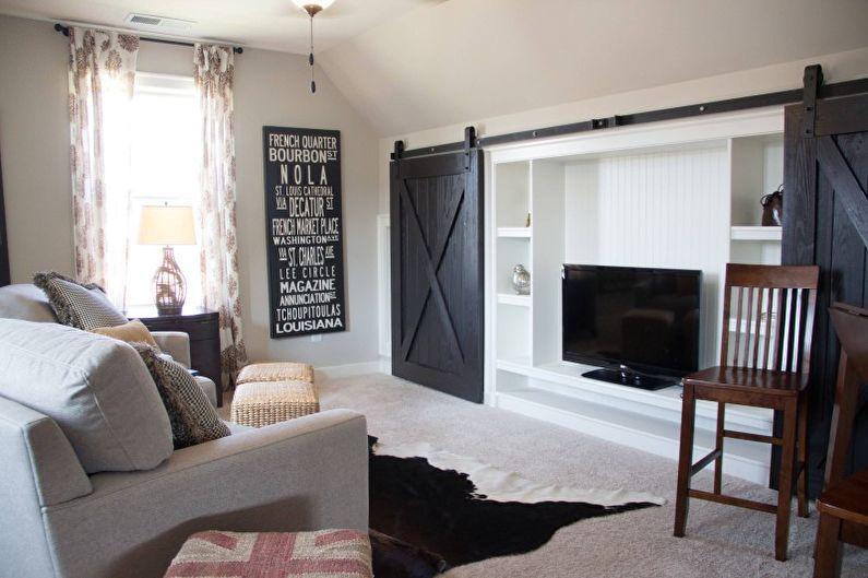Salon dans un style campagnard - Photo de design d'intérieur