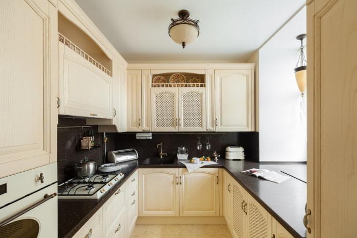 intérieur de cuisine en beige et noir