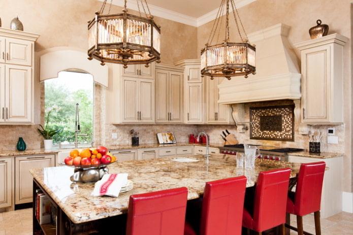 intérieur de cuisine beige avec des accents lumineux