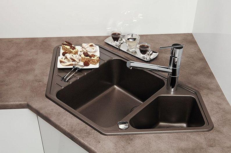 Types d'éviers d'angle pour la cuisine - Matériaux de fabrication