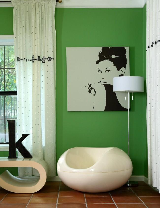 La combinaison blanc et vert est également bonne pour le salon.