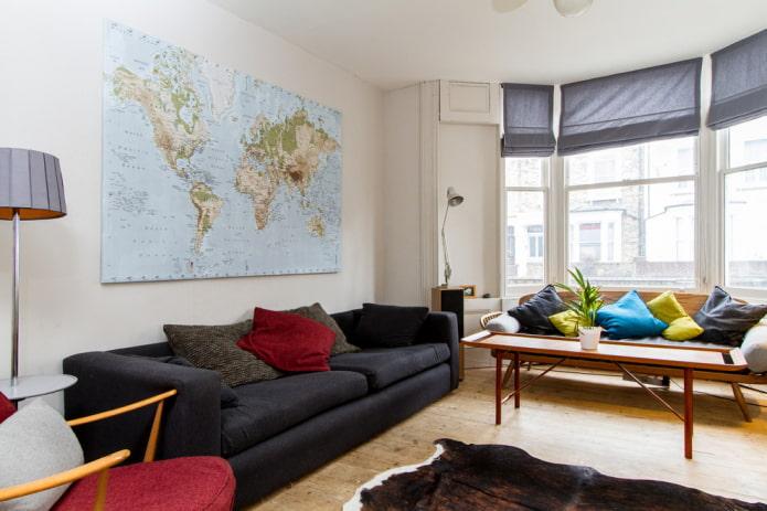 Carte du monde à l'intérieur