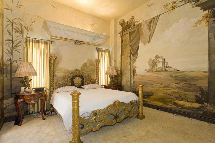 fresques sur le mur à l'intérieur