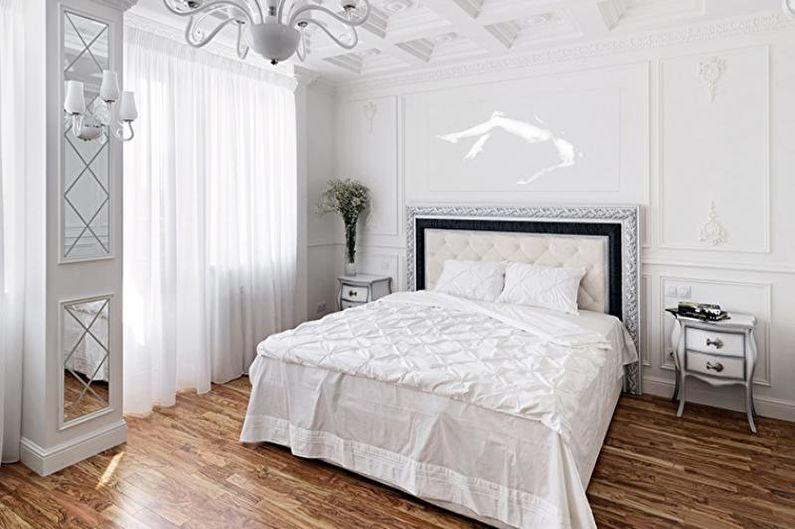 Chambre à coucher blanche de style classique - Design d'intérieur