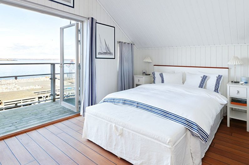 Chambre blanche dans un style nautique - Design d'intérieur