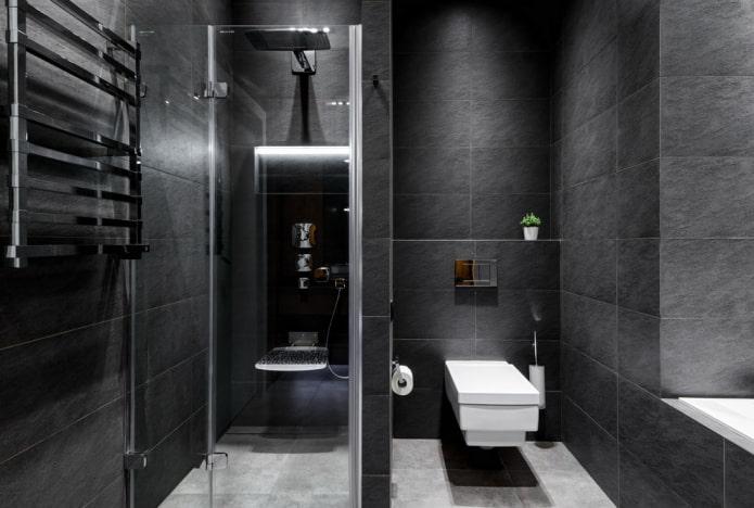 carreaux noirs à l'intérieur de la salle de bain