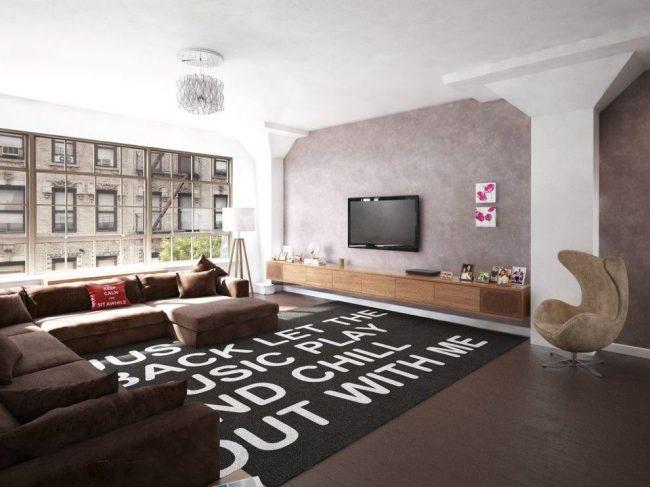Style loft avec peinture texturée grise sur les murs