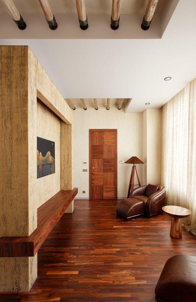 Combinaison de peinture texturée beige et habituelle dans un intérieur moderne