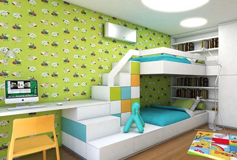 Aménagement intérieur d'une chambre d'enfants pour enfants de sexes différents