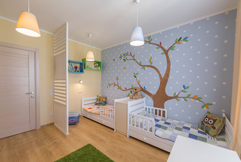 Aménagement d'une chambre d'enfants pour enfants de sexes différents