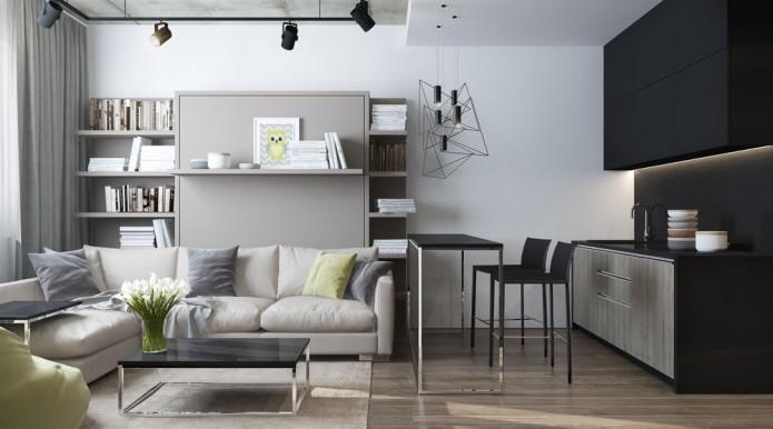 Conception moderne d'un salon combiné avec une cuisine dans un studio