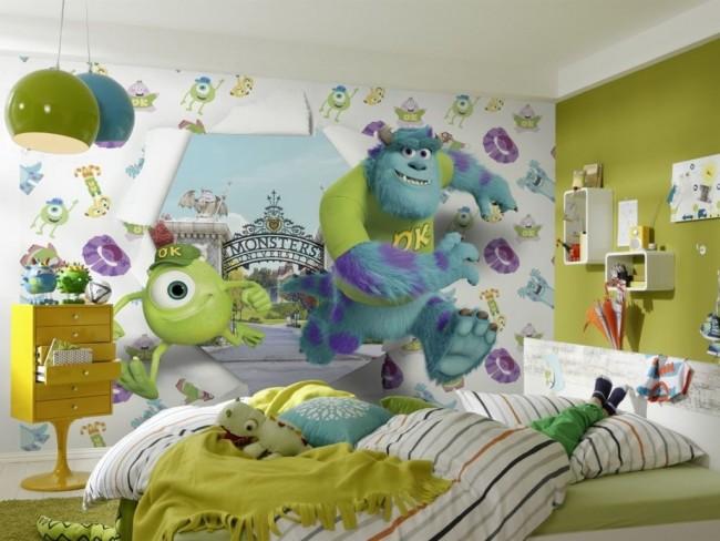 Les personnages de dessins animés prennent vie avec un effet 3D sur le mur de la chambre des enfants