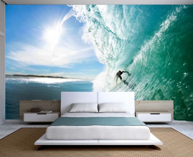 Les nuances bleues du ciel d'hiver dans la chambre vous prépareront à des vacances reposantes pour les personnalités extrêmes et énergiques, une image plus vivante sur le mur convient