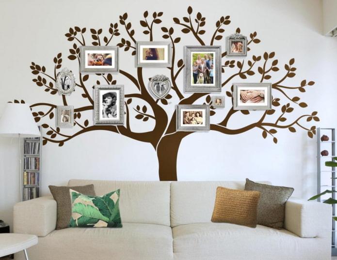 photographies sous la forme d'un arbre à l'intérieur