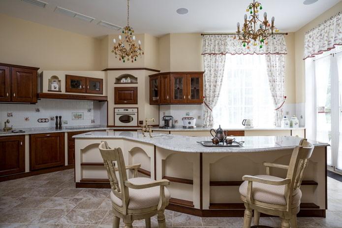 ameublement à l'intérieur d'une cuisine classique