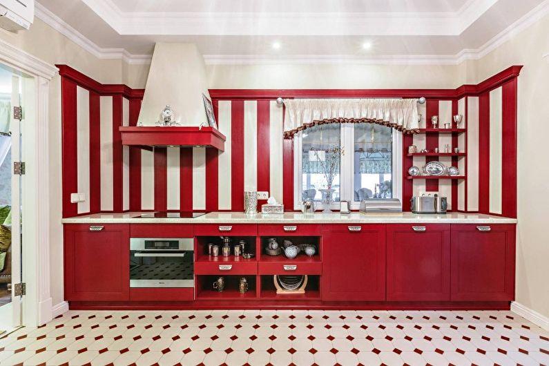 Design de cuisine rouge - Finition de sol