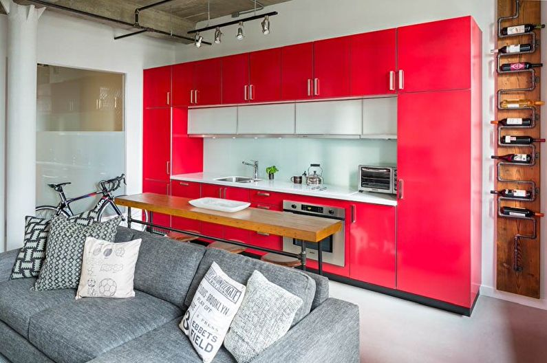 Cuisine rouge style loft - Design d'intérieur