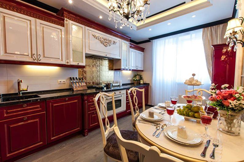 Cuisine rouge victorienne - Design d'intérieur